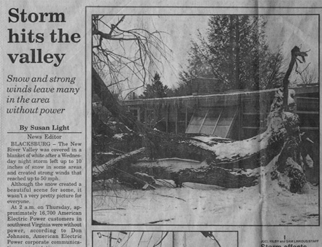 Storm Hits Valley Newspaper image